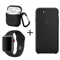Набор 3 в 1: Apple Silicone case, ремешок для Apple Watch и чехол для AirPods