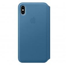 Чехол-книжка для iPhone XS Max Leather Folio Cape Code Blue (Голубой)