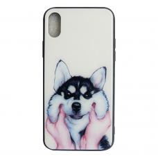 Чехол Glass Case для iPhone X / Xs с рисунком собаки