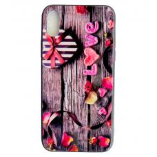 Чехол Glass Case для iPhone 6/7/8/7 Plus/8 Plus/X/Xs с деревьяной текстурой и романтичной картинкой
