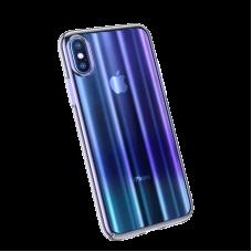 Сине - Прозрачный пластиковый чехол Baseus Aurora Case для iPhone Xs Max