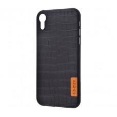 Чехол для iPhone Xr Dark series grainy leather черный