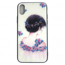 Чехол Glass Case для iPhone 6/7/8/7 Plus/8 Plus/X/Xs Flower Girl