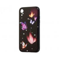 Чехол для iPhone Xr glass Бабочки