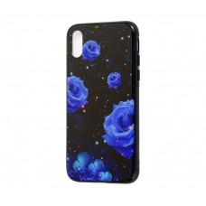 Чехол для iPhone X / Xs glass роза