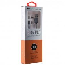 Магнитный кабель 360 Degree Auto Plug Round Magnetic Charging Metal Cable