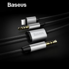 Aux Adapter For iPhone Baseus 2IN1 Audio Cable 8pin 3.5mm Jack Speaker Черный
