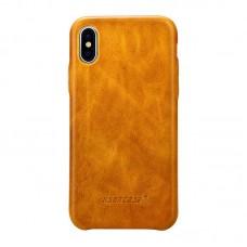 Чехол Jisoncase для iPhone X / Xs Leather Light Brown