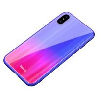 Чехол Baseus Laser Luster Glass Case для iPhone X/XS ( синий )