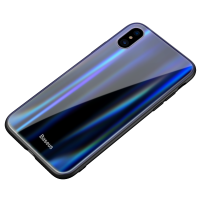 Чехол Baseus Laser Luster Glass Case для iPhone X/XS ( фиолетовый )