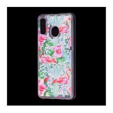 "Чехол для Samsung Galaxy A30 блестки вода ""Фламинго"""