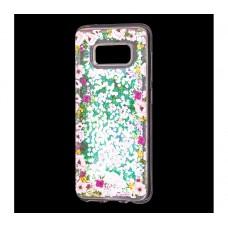 """Чехол для Samsung Galaxy S8 блестки вода """"Цветы"""""""