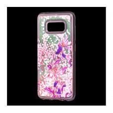"""Чехол для Samsung Galaxy S8 блестки вода """"Фиолетовые цветы"""""""
