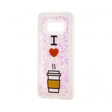 """Чехол для Samsung Galaxy S8 блестки вода """"Я люблю кофе"""""""