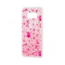 """Чехол для Samsung Galaxy S8 блестки вода """"Розовые цветы"""""""