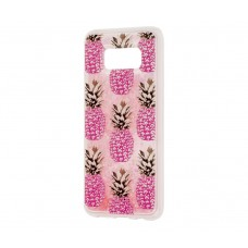 """Чехол для Samsung Galaxy S8 блестки вода """"Розовый ананас"""""""