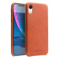 Кожаный чехол Qialino Leather Case with Metal Buttons Coffe для iPhone Xr