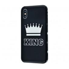 "Чехол для iPhone X / Xs HQ Glass ""Король"" Черный"