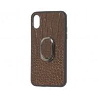 Кожаный чехол Genuine Leather Croco для iPhone X / Xs