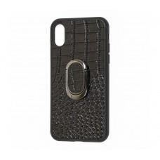 Кожаный чехол Genuine Leather Croco для iPhone X / Xs Черный