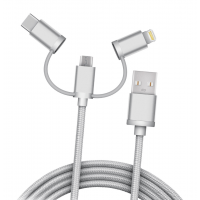 Кабель плетёный USB 3in1microUSB, Lightning, Type-C (1 метр)