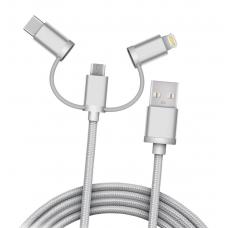 Кабель плетёный USB 3in1microUSB, Lightning, Type-C (1 метр)
