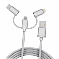 Кабель плетёный USB 3in1microUSB, Lightning, Type-C (2 метра)