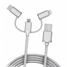Кабель плетёный USB 3in1microUSB, Lightning, Type-C (2 метра)