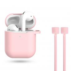 Силиконовый чехол для AirPods с карабином + шнурок для AirPods Light Pink