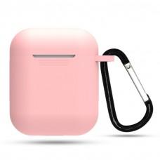 Тонкий силиконовый чехол с карабином для AirPods Light Pink
