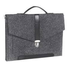 """Портфель-сумка Gmakin GS10-13.3 (Macbook Pro 13.3"""") Черный с черной кожей"""