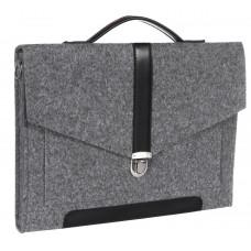 """Портфель-сумка Gmakin GS11-13.3 (Macbook Pro 13.3"""") Серый с черной кожей"""