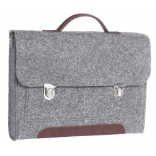 """Портфель-сумка Gmakin GS12-13.3 (Macbook Pro 13.3"""") Серый с коричневой кожей"""