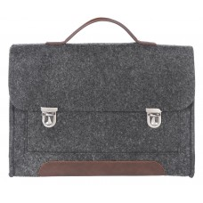 """Портфель-сумка Gmakin GS14-13.3 (Macbook Pro 13.3"""") Черный с металическими застежками с коричневой кожей"""