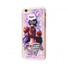 "Чехол для iPhone 7/8 блестки вода ""Super mama with two"""