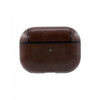 Кожаный чехол для AirPods Pro Protection Leather Case Темно-коричневый
