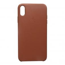Кожаный чехол apple leather case Saddle brown на iPhone Xr (копия)