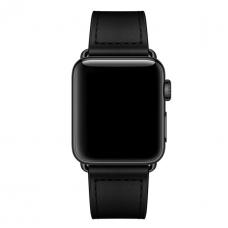 Кожаный ремешок для Apple Watch 42/44mm Rivet Clasp Black