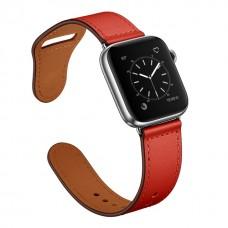 Кожаный ремешок для Apple Watch 42/44mm Rivet Clasp Red