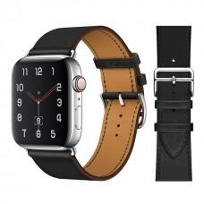 Кожаный ремешок Apple watch 42/44mm Hermès New Leather Black (копия)