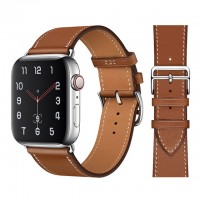 Кожаный ремешок Apple watch 42/44mm Hermès New Leather Brown (копия)