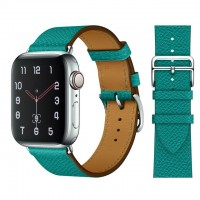 Кожаный ремешок Apple watch 42/44mm Hermès New Leather Green (копия)