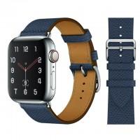 Кожаный ремешок Apple watch 42/44mm Hermès New Leather Midnight Blue (копия)