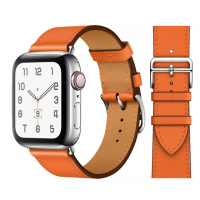 Кожаный ремешок Apple watch 42/44mm Hermès New Leather Orange (копия)