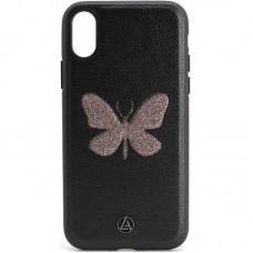 Кожаный чехол для iPhone X/Xs Luna Butterfly Case Black