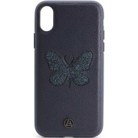 Кожаный чехол для iPhone X/Xs Luna Butterfly Case Blue
