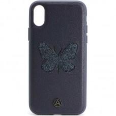 Кожаный чехол для iPhone X/Xs Luna Butterfly Case Blue
