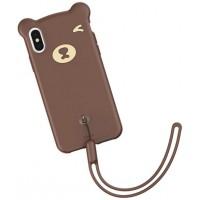Коричневый силиконовый чехол Baseus Bear Case для iPhone X/Xs