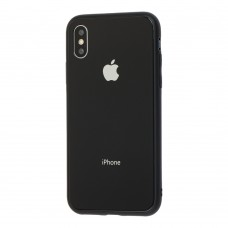 Чехол для iPhone X/Xs Glass Pastel Color Logo Black