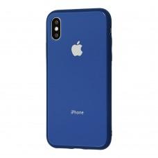 Чехол для iPhone X/Xs Glass Pastel Color Logo Blue